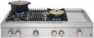 """RISE™ 48"""" Gas Professional-Style Rangetop with Chrome-Infused Griddle and Grill"""