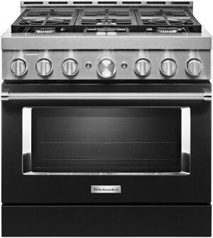 KitchenAid™ 36'' Smart Commercial-Style Gas Range with 6 Burners - Imperial Black