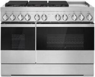 """NOIR 48"""" Dual-Fuel Professional-Style Range with Chrome-Infused Griddle and Steam Assist"""