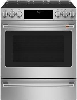 """Café™ 30"""" Smart Slide-In, Front-Control, Induction and Convection Range with Warming Drawer"""