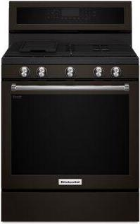 KitchenAid(R) 30-Inch 5-Burner Gas Convection Range - Black Stainless