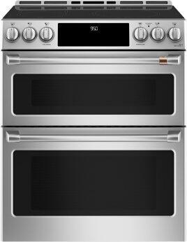 """Cafe 30"""" Slide-In Front Control Induction and Convection Double Oven Range"""