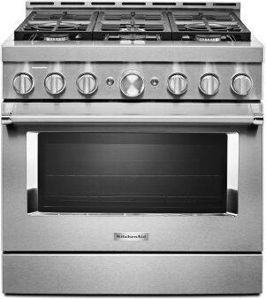 KitchenAid™ 36'' Smart Commercial-Style Gas Range with 6 Burners - Heritage Stainless Steel